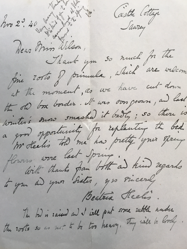 Letter by Beatrix Potter selling at auction