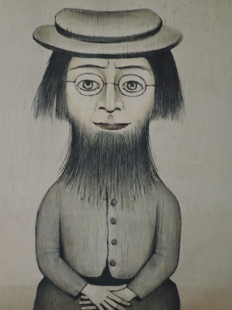 Lowry woman with beard print at auction