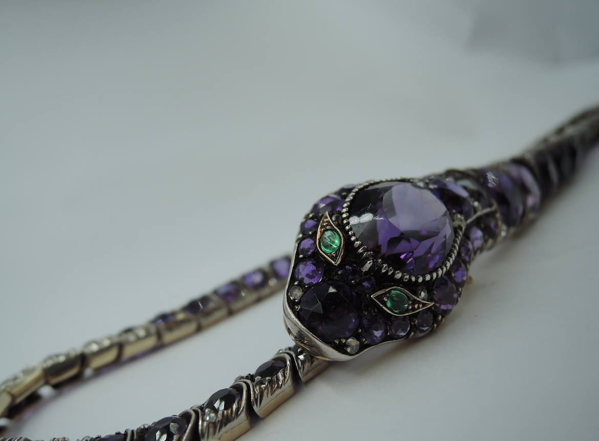 Early 20th-century serpent collarette necklace at auction